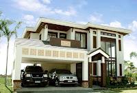 modelo de casa de dos pisos con garaje grande frontal