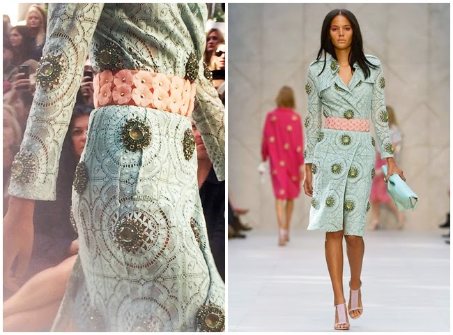 Burberry Prorsum 2014 SS Mint Lace Trench Ccoat with Rhinestones