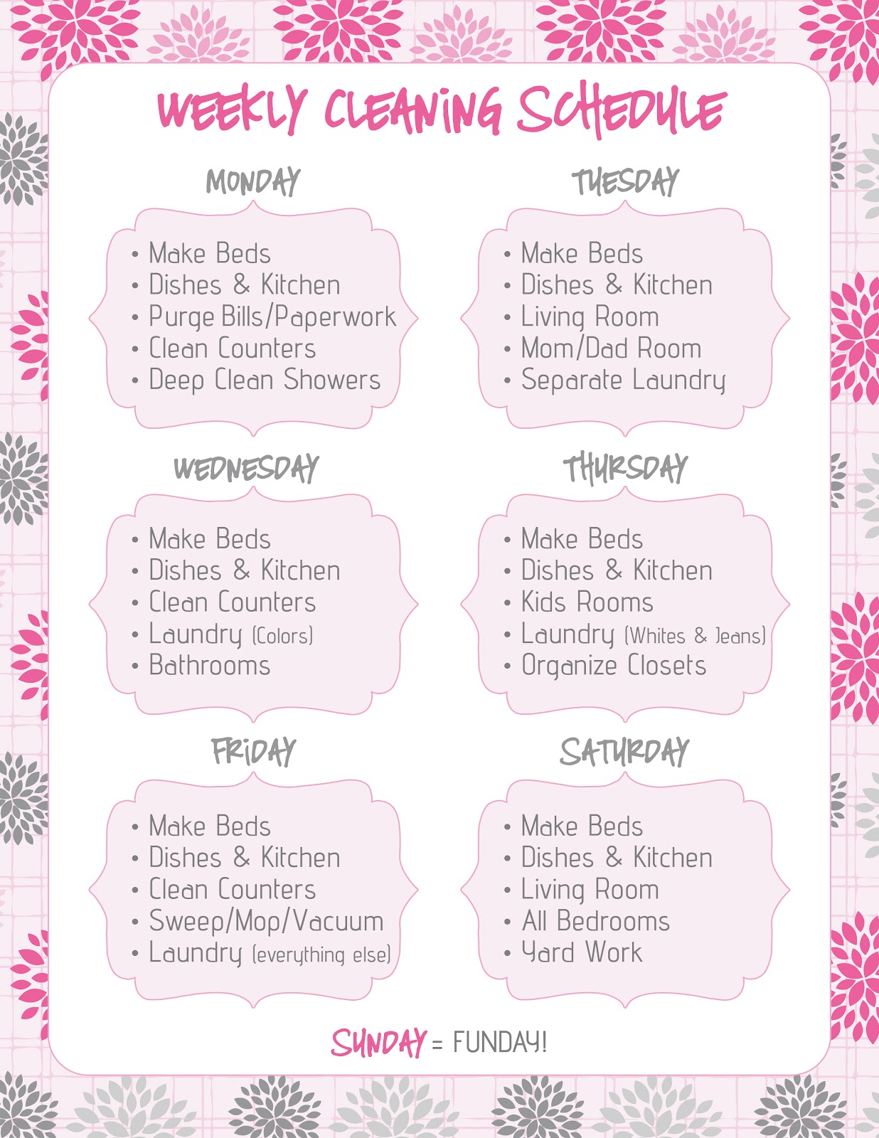 FREE Printables That Will Improve Your Life   Cleaning       FREE Printables That Will Improve Your Life   Cleaning Schedules and Cleaning