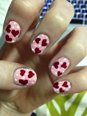 Uñas Pintadas, Diseño Corazones Rojos, San Valentin, II Parte