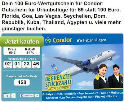 100 Euro Condor-Flug-Gutschein bei DailyDeal für 69 Euro