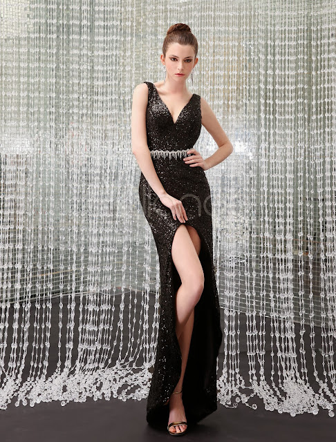 China Wholesale Clothes - Sexy Black Sequined Sequin V-Neck Women's Evening Dress