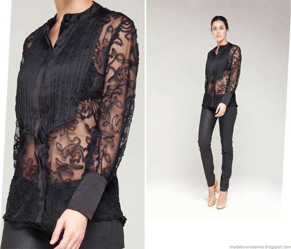 La Cofradía otoño invierno 2012. Ropa de moda, camisas con transparencias.
