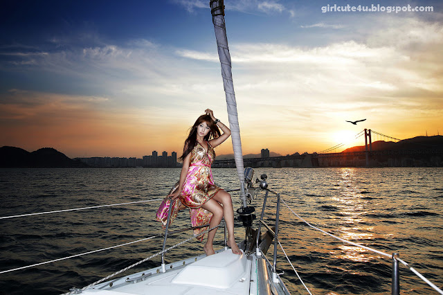 3 Kim Ha Yul on a Sailboat-very cute asian girl-girlcute4u.blogspot.com