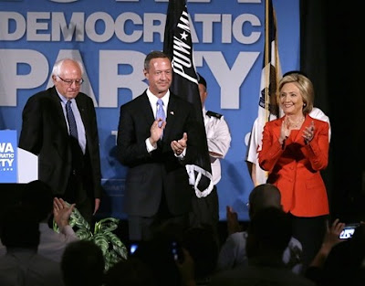 Democratic presidential candidates, from left, Bernie Sanders, Martin O'Malley, Hillary Clinton
