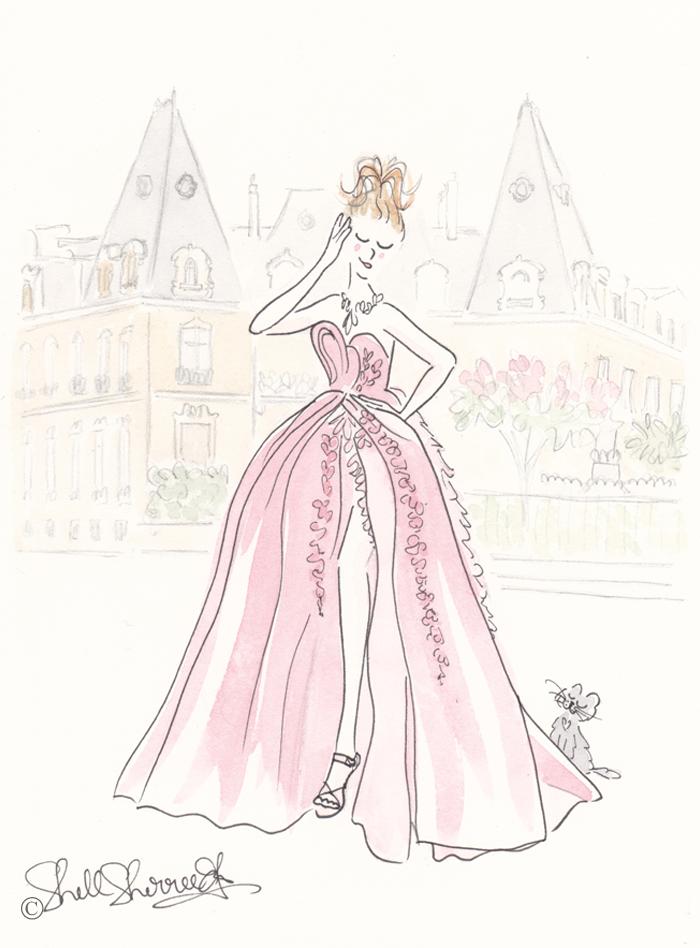 Paris fashion illustration, Paris Pink Belle of the Ballgown © Shell-Sherree