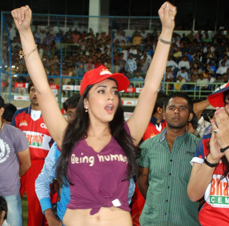 Shriya Saran  in Tank Top at Being Human Cricket Match