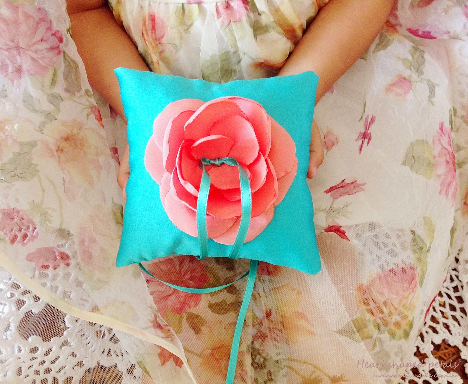 Ring bearer pillow blue and coral flower