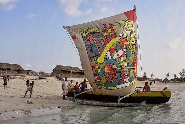Spanish Street Artist Aryz Paints A Boat Somewhere In Andavadoaka, Madagascar 1