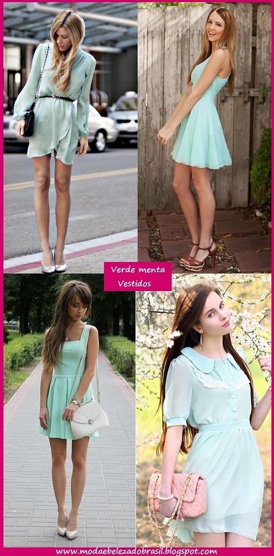 looks de vestidos verde menta