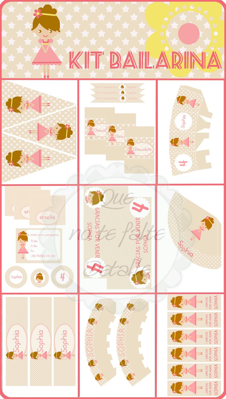 Diseño Kit Imprimible Bailarina Niña