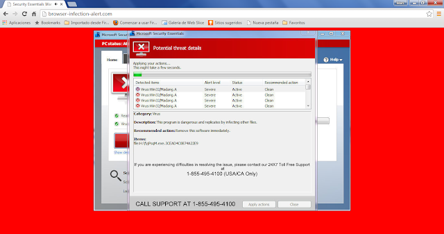 Browser-infection-alert.com pop-ups  (Support Scam)