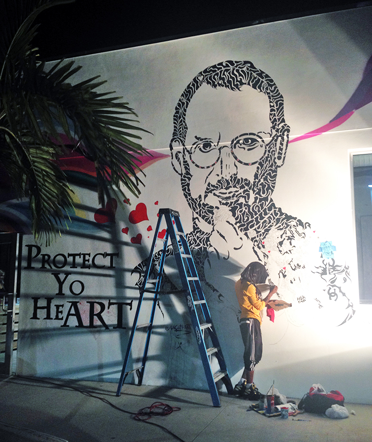 Steve Jobs mural at MBAB 2014, Art Basel, Protect Yo Heart by UncuttArt