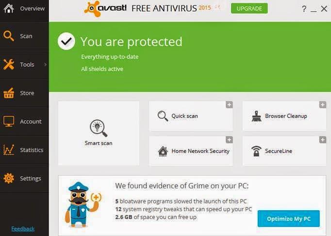 ������ ������� ����� ���� ����� Avast Free Antivirus ��� ������� ���� 2015