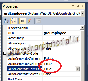 Gridview Properties - AutoGenerateDeleteButton & AutoGenerateEditButton set to true