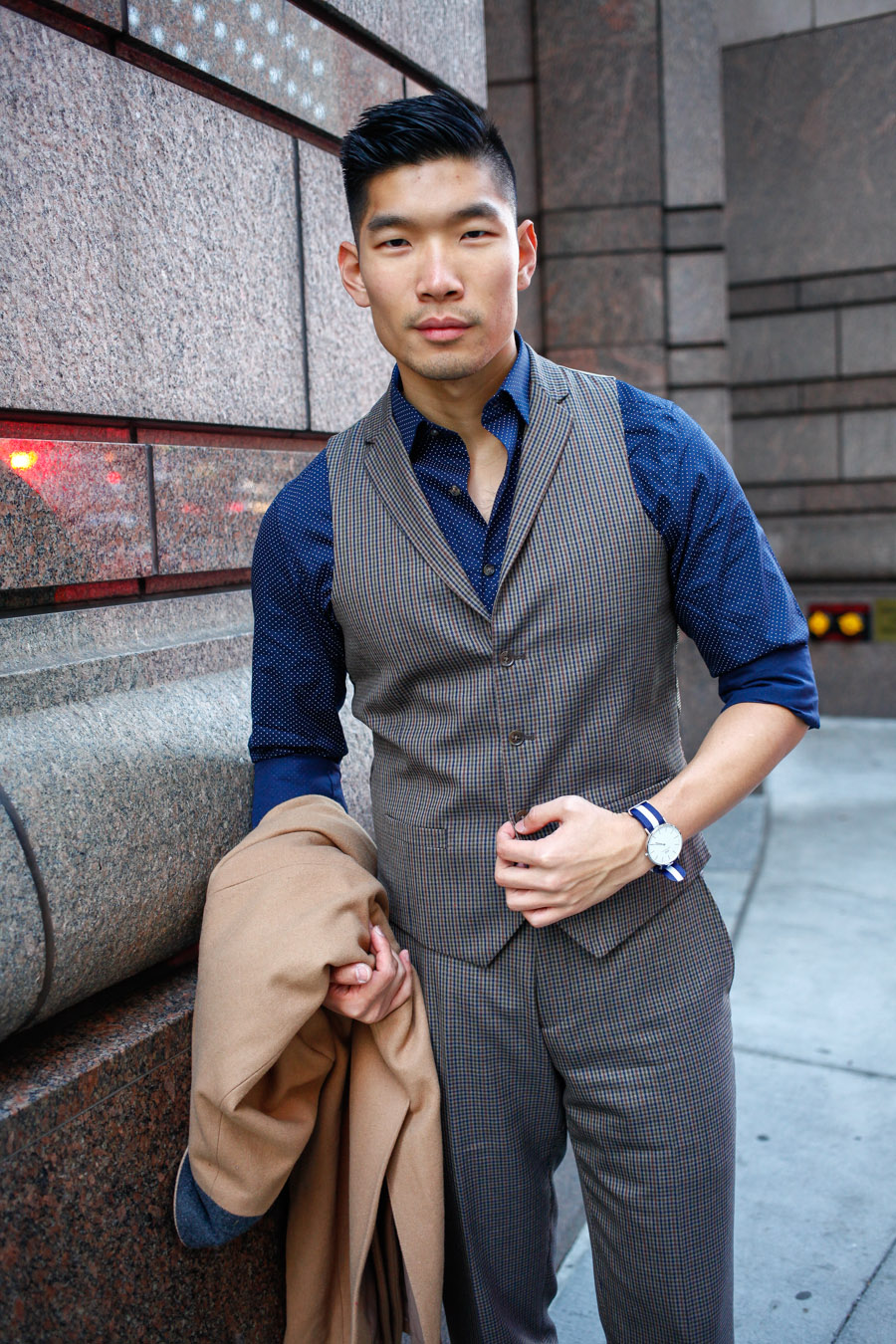 Levitate Style, Bar III, Olive Three-Piece Suit, Work Party, Work Holiday Party, Menswear, Pattern Mixing, Leo Chan