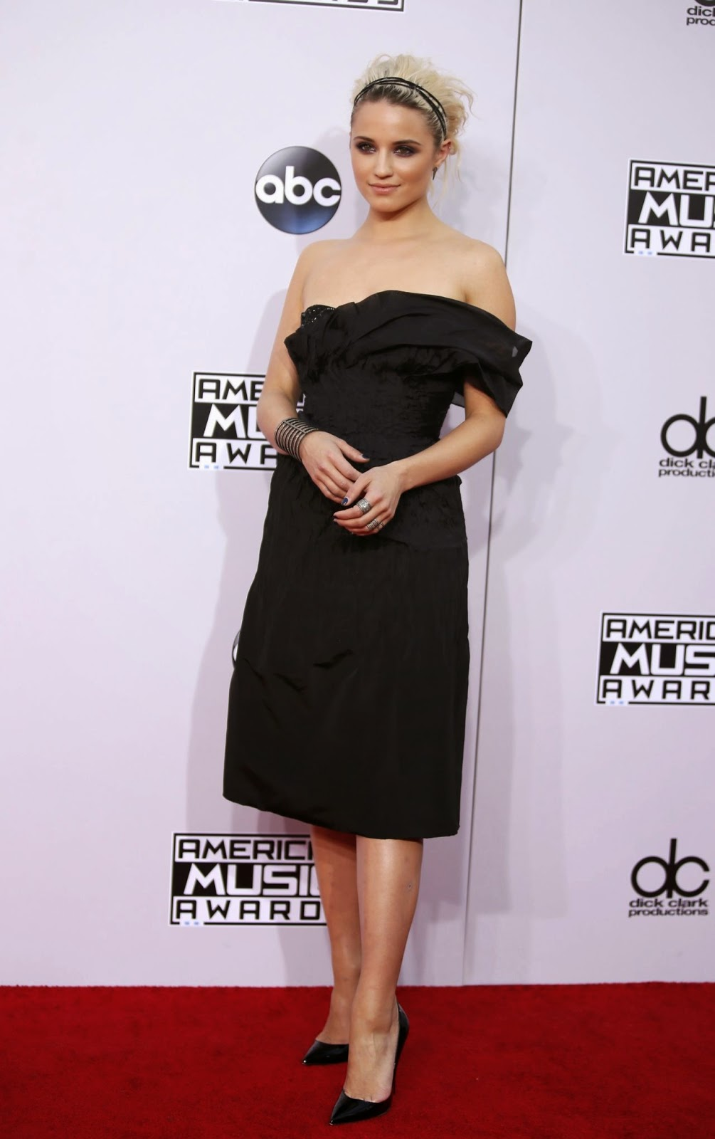 Dianna Agron in an off shoulder Marchesa dress at the 2014 American Music Awards