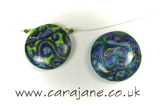 Cara Jane Metallic Mokume Lentil beads side 1