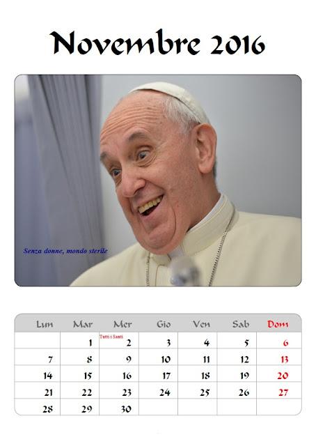 Calendario 2016 Papa Francesco - novembre - frasi celebri