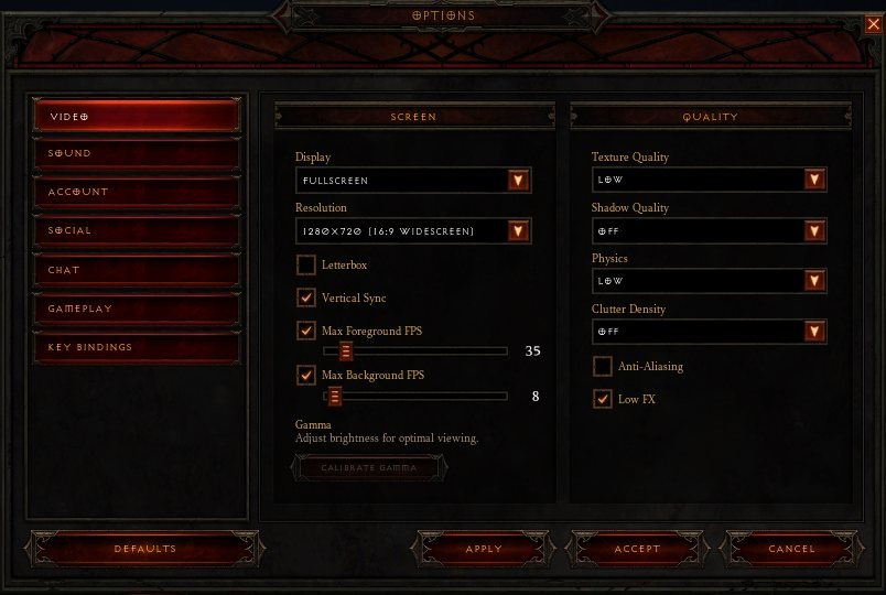 Diablo 3 Optimal Video Settings for Intel HD Graphics