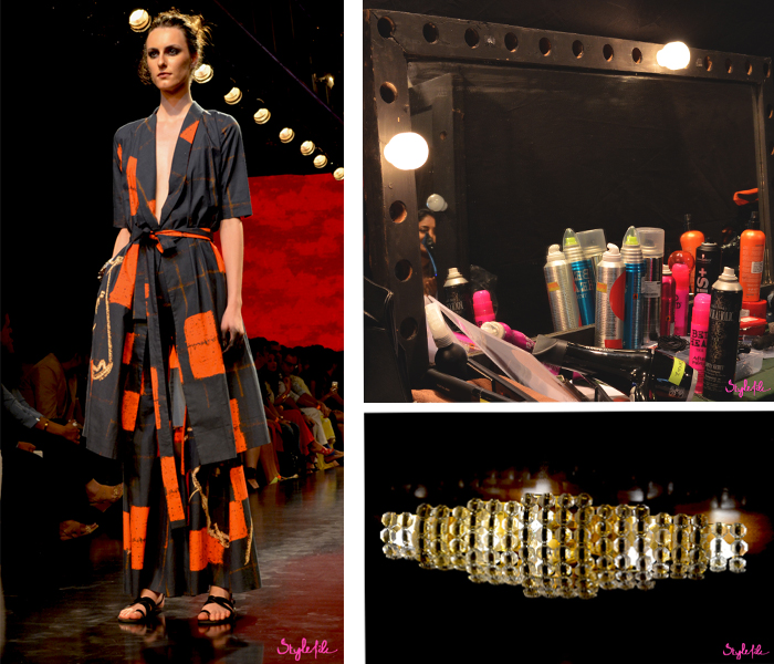 Masaba Gupta showcases her collection of prints, the backstage area is filled with hair and makeup products, a crystal lamp at Lakme Fashion Week Winter Festive 2015 at the St. Regis Hotel