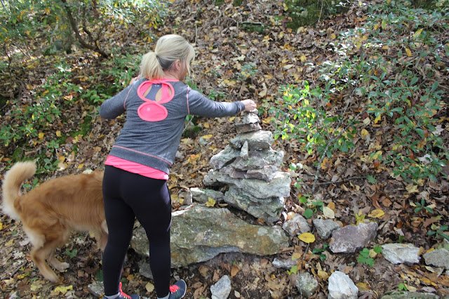 Hiking Lantern Hill summit with your dog adding to the Cairn #walktober