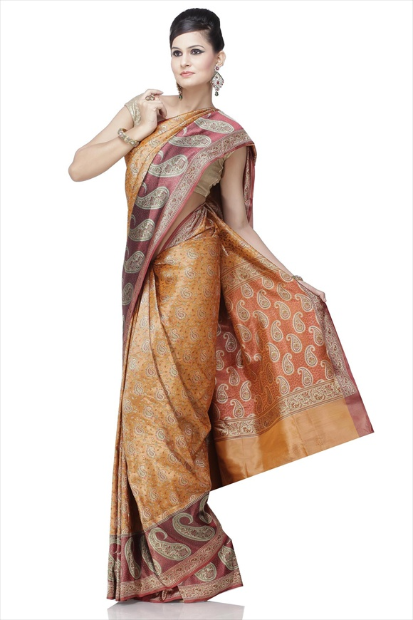 Russett Orange Satin Banarasi Saree