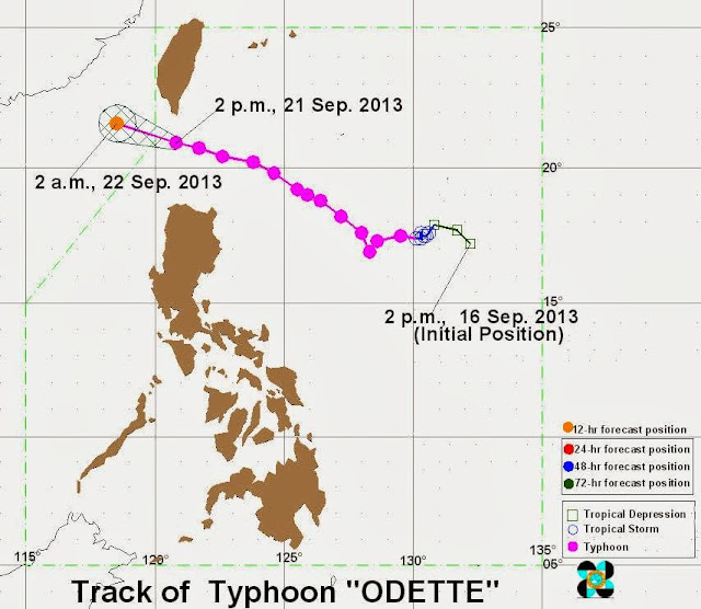 Track of Typhoon Odette September 21, 2013