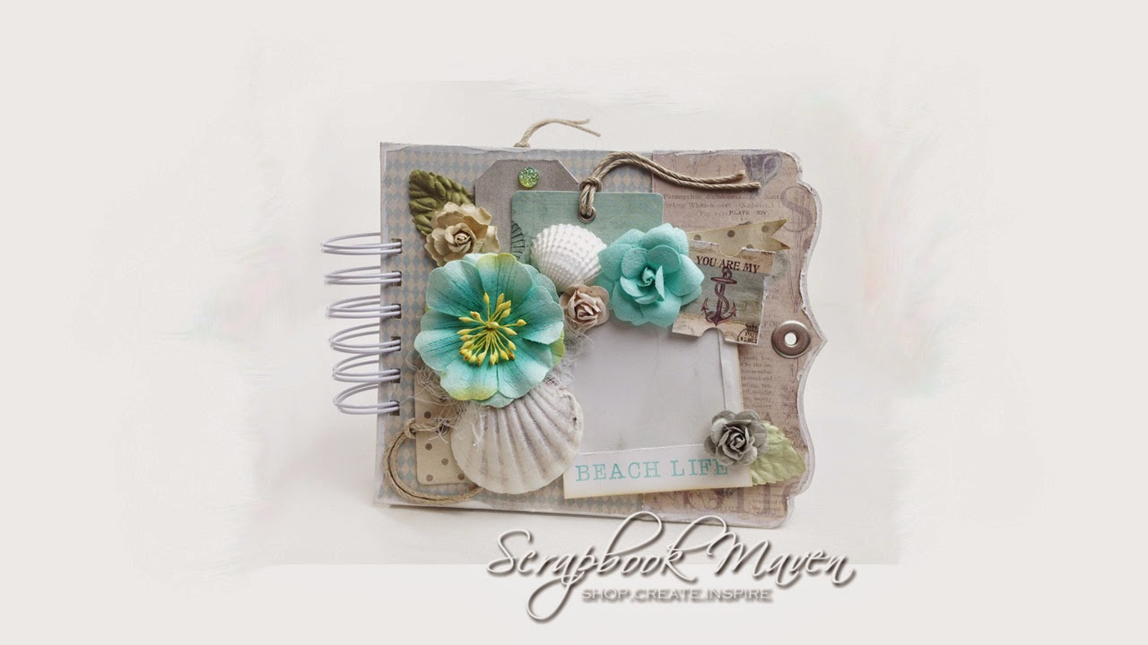 Scrapbook Maven Mini album Kit using Prima Seashore for a quick and easy album