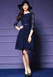 New 2016 Red/Blue Three Quarter Transparent Sleeve Round Neck Flare Lace Dress
