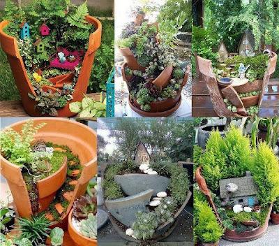 Artesan as verdes macetas con mini casitas y plantitas - Casitas en macetas ...