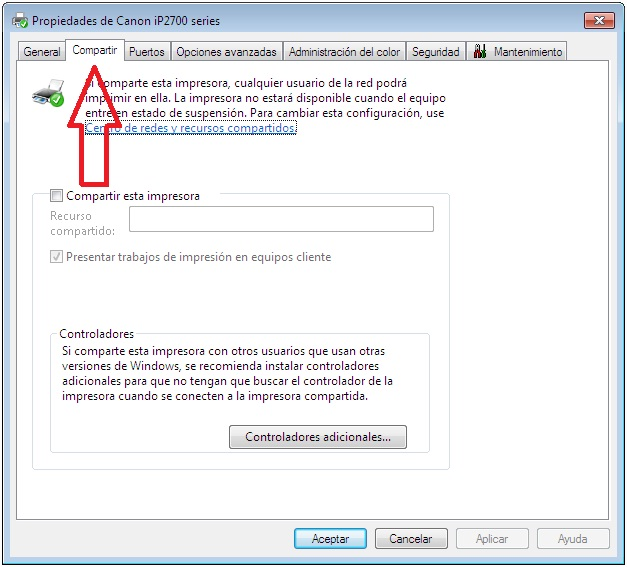 pestaña para compartir impresora windows 7
