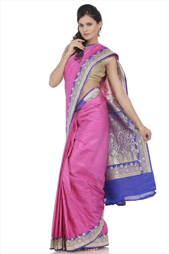 Carmine Pink Satin Banarasi Saree