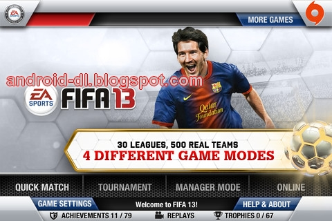 Fifa13) Fifa soccer 13 EA sports Android APK + SD data files , all