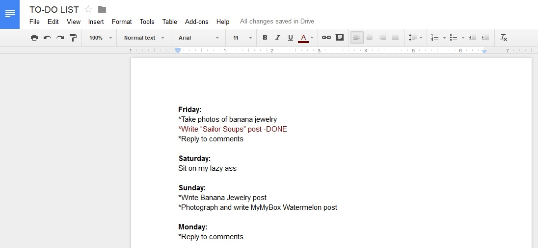 blogging to-do list