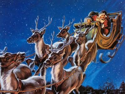 vintage painting of Santa sleigh and reindeer