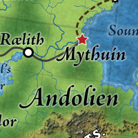 Mythuín, in the Matriarchy of Andolien, is the capital of the elven realm of Alfdaín, Great Caldera, World of Calidar.  Topographical map.  Stereographic Projection.