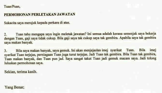 Contoh Surat Berhenti Kerja Dalam Bahasa Indonesia Surat