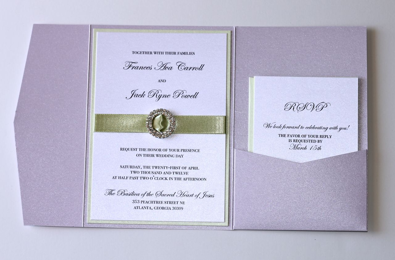 Lavender and Mint Green Pocket fold Wedding Invitation - Embellished ...