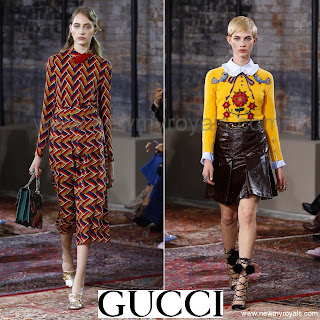 GUCCI geometric Dress - GUCCI leather skirt - Gucci Resort 2016