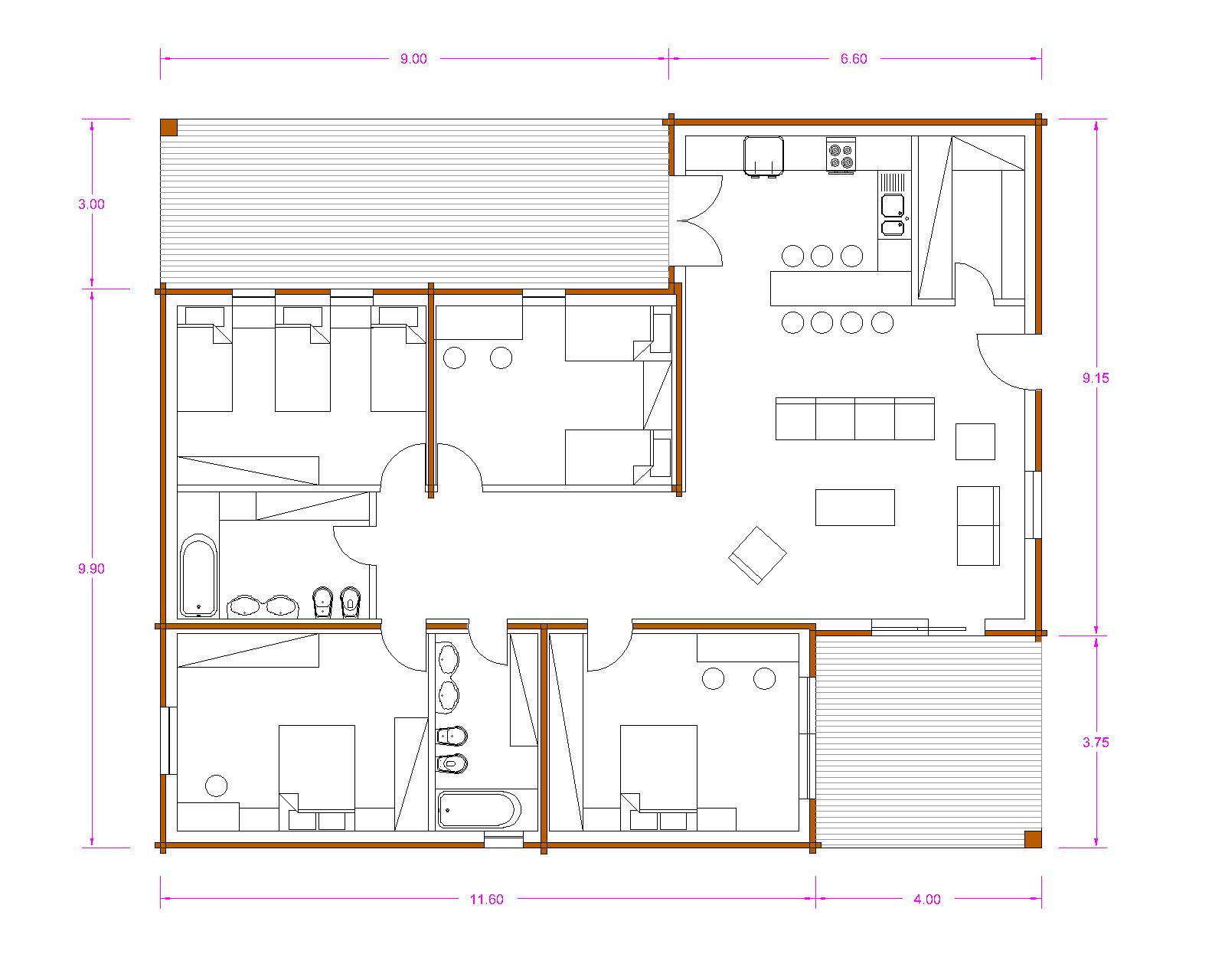 Progetti di case in legno casa 159 mq portico 43 mq for Progetti di portico anteriore