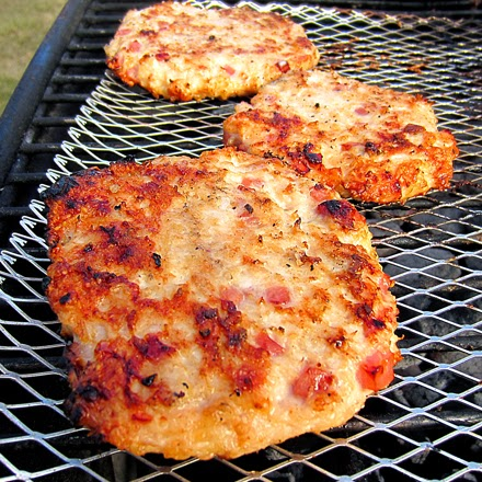 Grilled Ham & Cheese Chicken Burgers Recipe