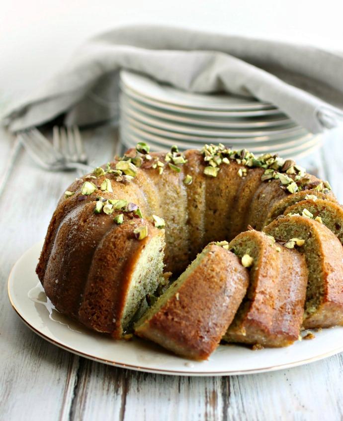 Pistachio Cake with Cardamom Glaze