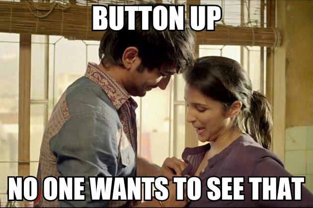 funny, Sushant Rajput Parneeti Chopra Shirt Shuddh Desi Romance Blouse Bollywood Meme