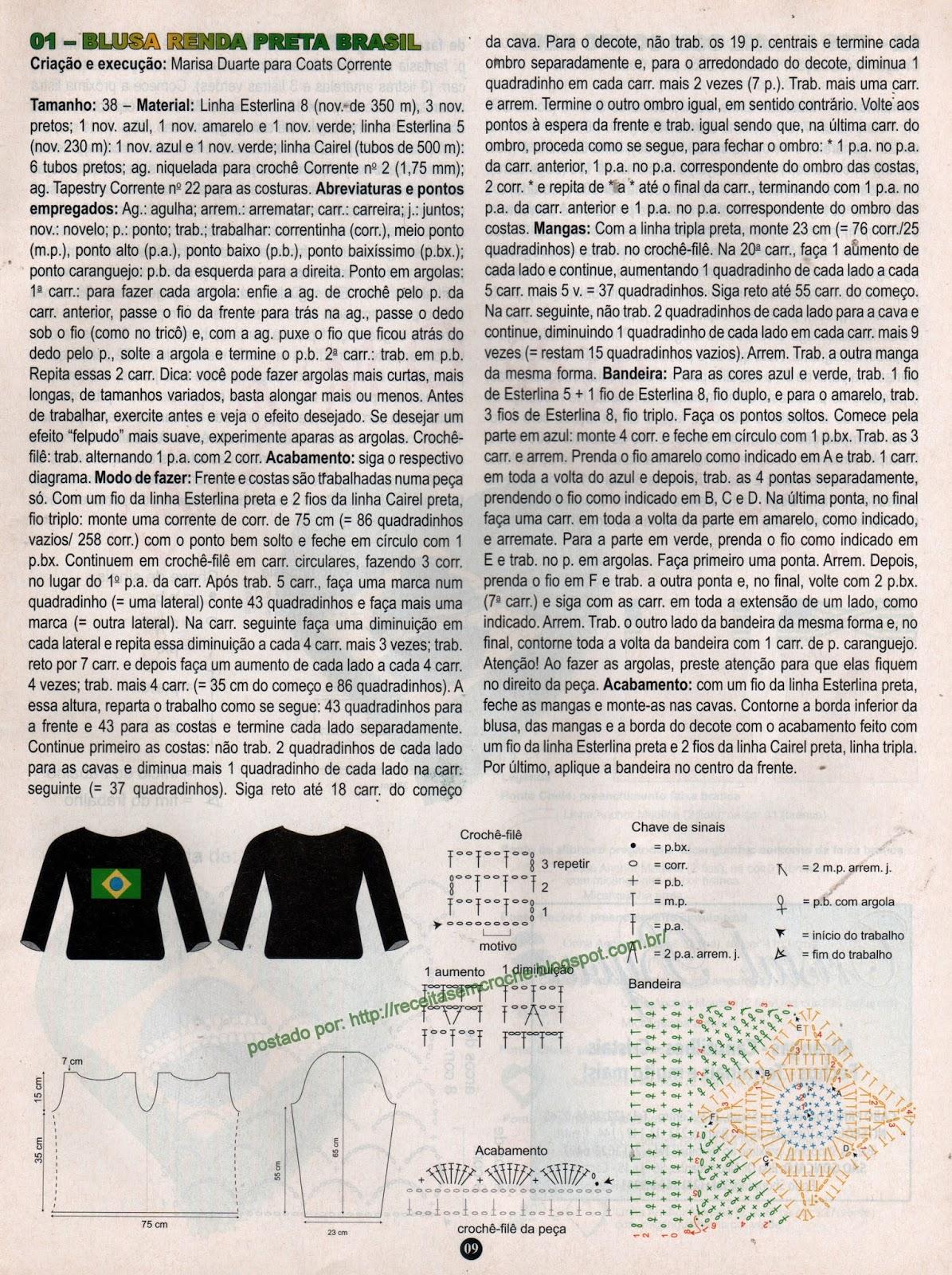 RECEITA DE BLUSA EM CROCHÊ COM BANDEIRA DO BRASIL