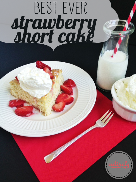 This is the best cake recipe for Strawberry Shortcake ever! It is nice and heavy but not too sweet. entirelyeventfulday.com #recipes #dessert