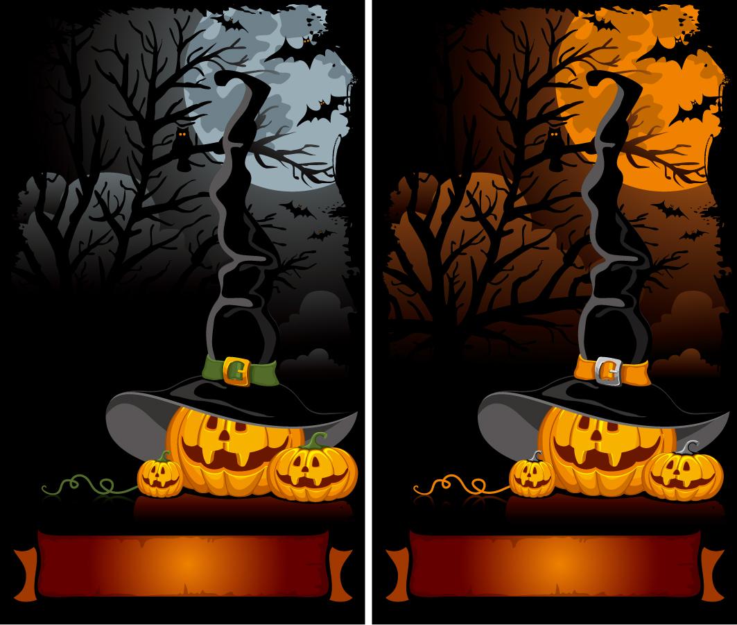 ハロウィンの夜の背景 halloween cartoon background イラスト素材