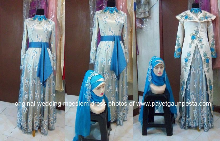 Baju Pengantin Muslim Biru Emas Two In One Style dengan Obi
