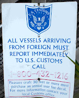 US Customs Sign, No Name Harbor, Bill Baggs Cape Florida State Park, Key Biscayne, Miami-Dade