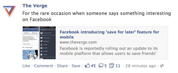 Asa va arata butonul Facebook Save For Later pe dispozitive desktop